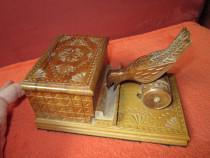Rar Cigarette Box with a Bird Mechanism-lemn sculptat'60-cad