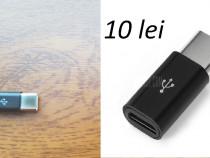 Adaptoare Micro USB-Type C negre