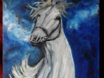 Cal alb 4-pictura ulei pe placaj