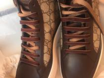 Gucci hi-top anckle sneakers,G logo brown,produs original.