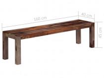 Bancă, 160 cm, gri, lemn masiv de 247473