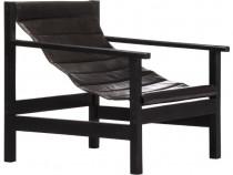 Fotoliu de relaxare, negru, piele naturală 247794