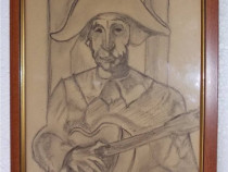 Arlechin cu chitara - desen vechi