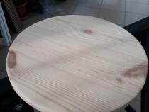 Blat masa 43 mm grosime, 800 mm diametru din lemn masiv