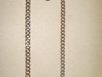 B217-Lant ceas buzunar gros vechi barbat cupru cromat-48 cm