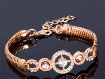 Bratara cercuri cu cristale placata aur 18k