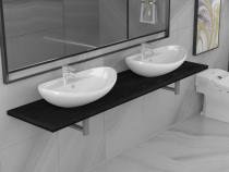 Set mobilier de baie din trei piese, negru, 279396