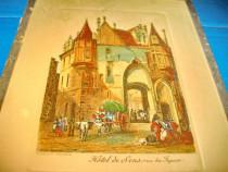 4720-Gravura veche Hotel de Sens-Rue du Figuier Franta.
