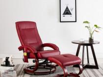 Fotoliu masaj rabatabil cu taburet, roșu vin, 248605