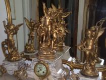 Set ceas semineu cu statuete, antic, 60 cm inaltime