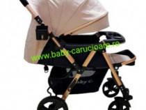 Cărucior nou născut 2 in 1+plasă Baby Care 511 Crem Gold