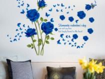 Sticker Decorativ, Trandafiri Albastrii 147 Cm, 129STK