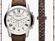 Ceas fossil fs4735 grant cronograf barbat + bratara piele