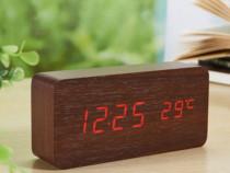 Ceas De Birou Cu LED , Wood Style , Afisare Temperatura