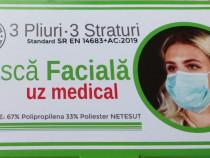 Masca de protectie faciala de unica folosinta, in 3 straturi