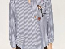 Zara, Camasa noua, dungi, print marin, accesorizata cu perle