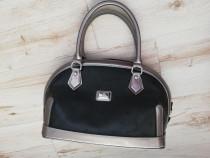 Poseta geanta negru cu accente argintii Matmazel
