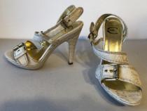 Sandale deosebite Just Cavalli, originale, din piele + mater
