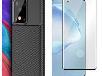 Samsung S20 S20 PLUS S20 ULTRA - Husa Silicon Carbon + Folie