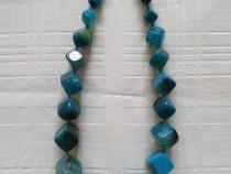 Colier pietre semipretioase agate albastre