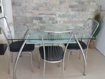 Masa sticla cu scaune