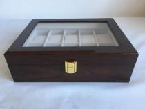 Cutie caseta lemn maro pentru 10 ceasuri – cadou ideal. nou!