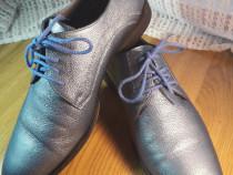 Ghete pantofi piele albastru electric