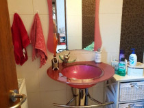 Set de baie modern lavoar picior sustinere oglinda