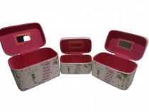 Caseta bijuterii sau farduri set 3 cutii