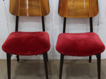 2 buc Scaune vintage Retro; Scaun tapitat cu husa; Scaun lem