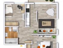 Apartament nou, 3 camere, finisat, Prima Nufarul