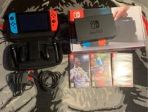 Nintendo Switch + 3 jocuri + husa