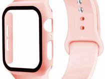 Curea Silicon Ceas + Husa Carcasa Geam Sticla Apple Watch