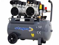 Compresor aer silentios stager hm50jw-0.75x2 50l 65db 330l/m