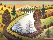 RAR - Petru Mihut - Peisaj - semnat 1980 - Pictura naiva