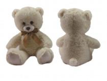 Urs de plus cu fundita, culoare crem, 60 cm, nou, cadou