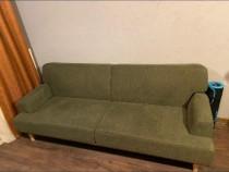 Canapea extensibilă 3 locuri verde kaki