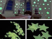 Nou SET 40 Steluțe verzi fosflorescente pentru tavan camera