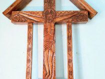 Cruce Troița Lemn Stejar Sculptat