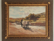 """Reproducere dupa celebra pictură """"Car cu boi"""" de Nicolae Gri"""