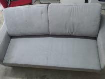 Canapea extensibila gri cu 2 perne