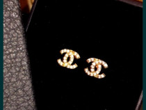 Cercei Chanel Strass new model logo auriu