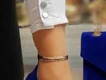 Pantofi catifea insertii aurii new model