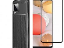 Husa Carbon Neagra + Folie Sticla Curbata Samsung S20 FE A41