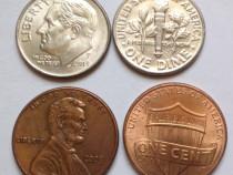 29 monede ONE CENT+14 monede ONE DIME, USA, pentru colecție