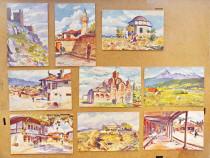 C453-I-Set 9 Carti Postale acuarele T. Chvakitch vechi 1916.