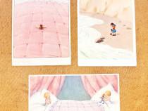 C454-I-Set 3 Carti postale comice cu copii vechi interbelice