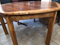 Masa din lemn masiv, extensibila, forma hexagonala