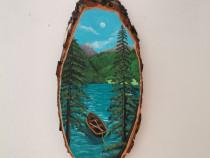 Tablou pictat pe felie se lemn peisaj