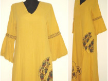 Rochie maxi, noua, bumbac galben, ciucuri, cusaturi manuale